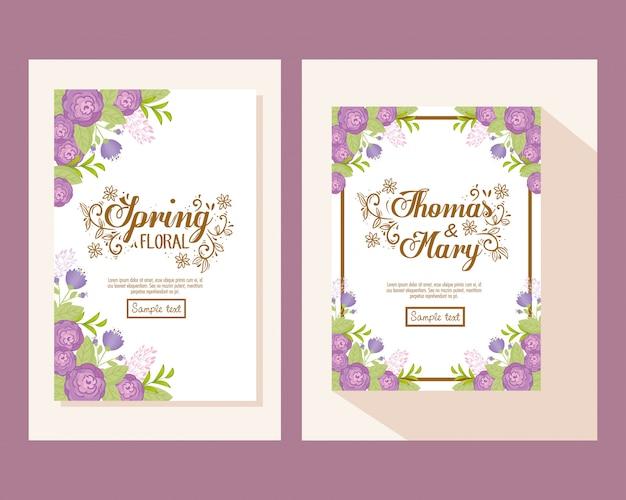Invitación de boda con flores moradas y hojas