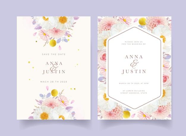 Invitación de boda con flores de peonía y dalia de rosas rosadas de acuarela