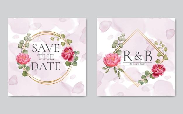 Invitación de boda con flores de peonía rosa con marco dorado