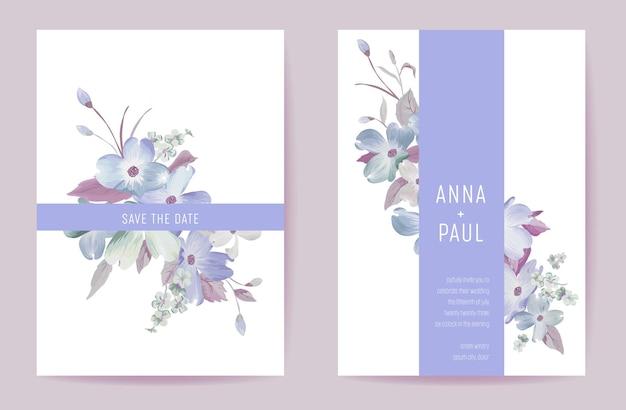 Invitación de boda flores de primavera en colores pastel. vector de plantilla mínima de tarjeta floreciente acuarela floral. cartel moderno botánico, diseño de moda, ilustración de fondo de lujo