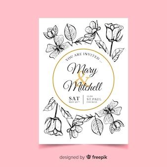 Invitación de boda de flores realistas