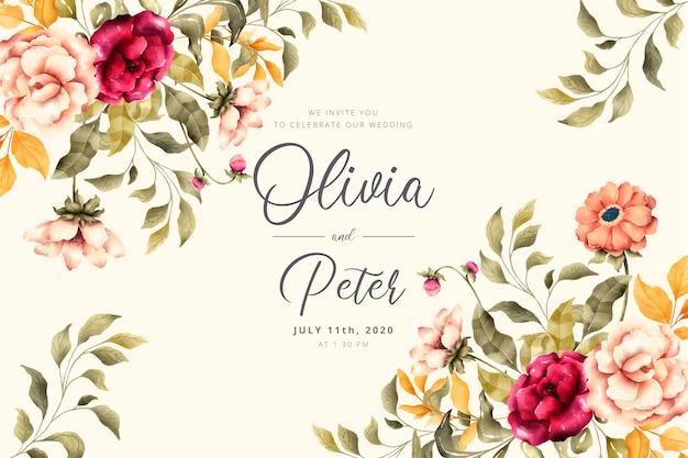 Invitación de boda con flores románticas