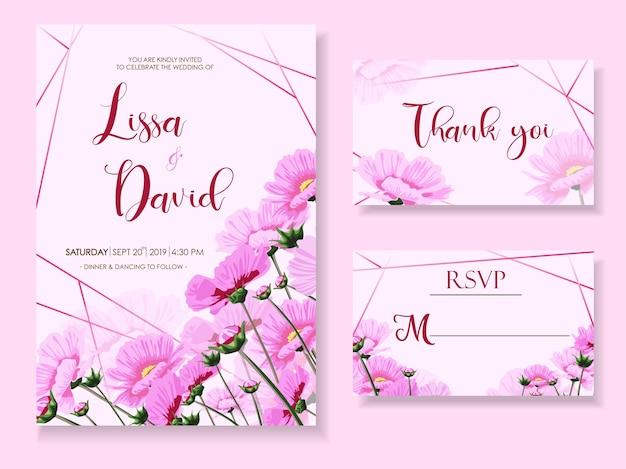 Invitación de boda con flores rosadas