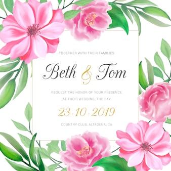 Invitación de boda con flores rosas acuarelas