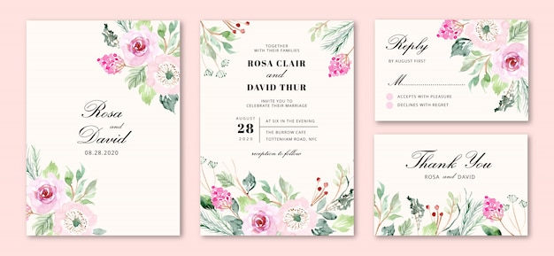 Invitación de boda con flores rosas dulces