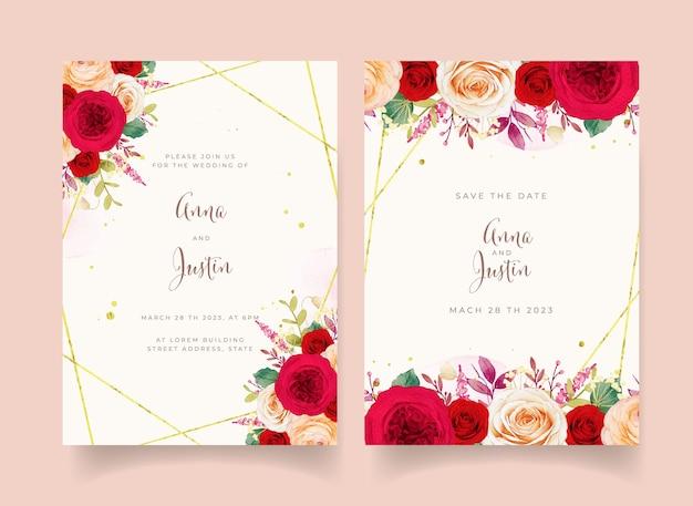 Invitación de boda con flores rosas rojas