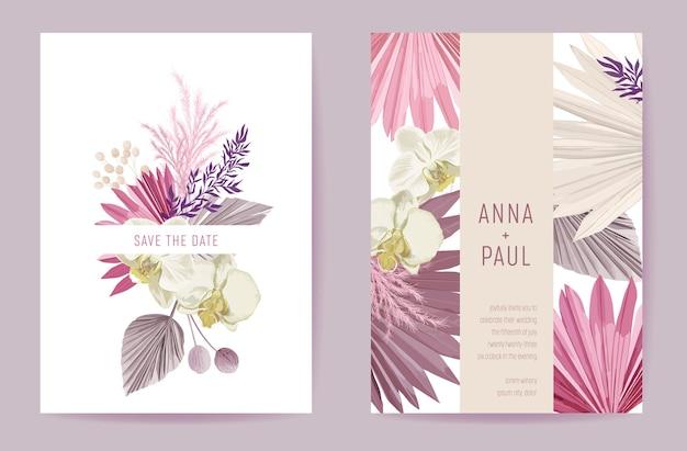 Invitación de boda flores secas en colores pastel, tarjeta floral, hierba de pampa seca, vector de plantilla mínima de acuarela de orquídeas. cartel moderno botánico de follaje dorado, diseño de moda, ilustración de fondo de lujo