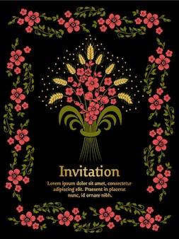 Invitación de boda con flores sobre fondo negro