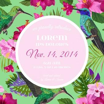 Invitación de boda con flores tropicales y colibrí