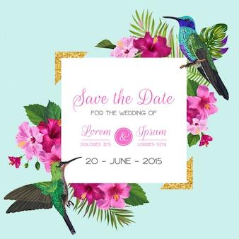 Invitación de boda con flores tropicales y colibríes
