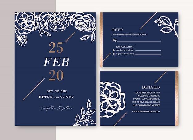Invitación de boda con follaje acuarela romántica y creativa de flores