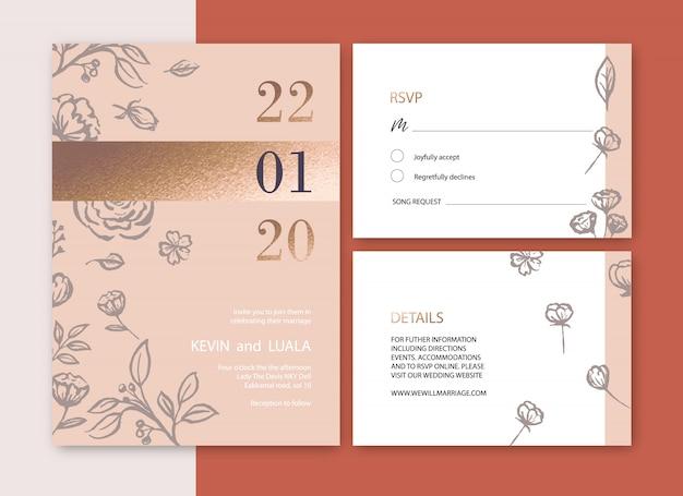 Invitación de boda con follaje ilustración de acuarela romántica, flor de lujo