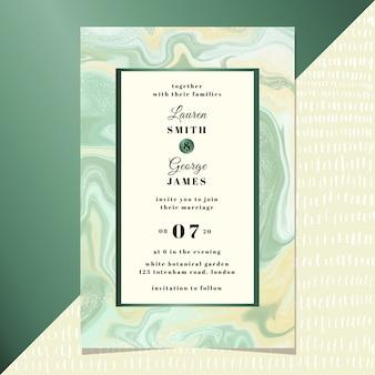 Invitación de boda con fondo de mármol verde amarillo