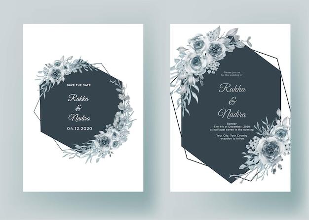 Invitación de boda con forma geométrica flor azul pastel