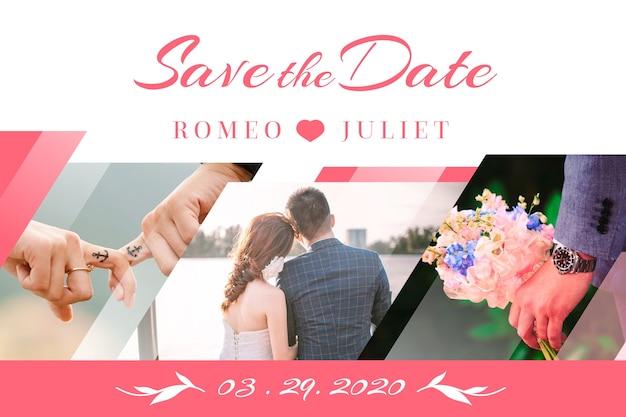 Invitación de boda con foto con novios