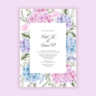 Invitación de la boda de la frontera del marco del hortensia azul rosado verde