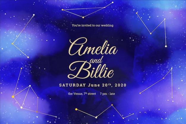 Invitación de boda galaxia plantilla acuarela con constelaciones