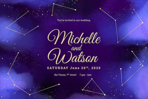 Invitación de boda galaxia plantilla acuarela