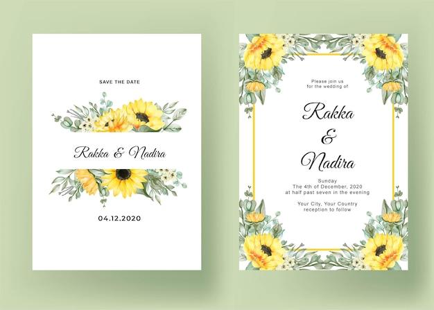Invitación de boda con girasoles vector gratuito