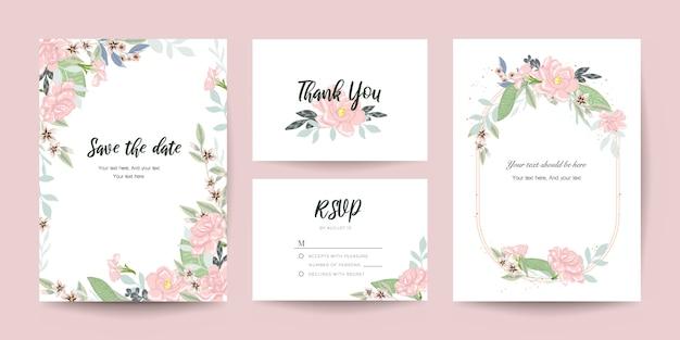 Invitación de boda, gracias y conjunto de plantillas de tarjeta rsvp