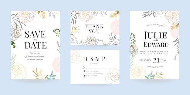 Invitación de boda, gracias y rsvp tarjeta vector