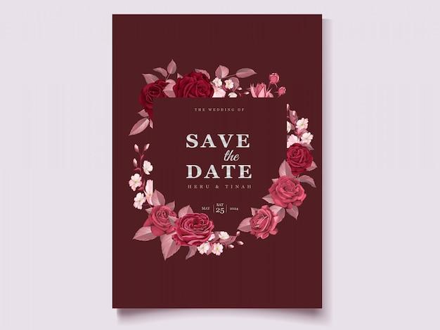 Invitación de boda granate floral romántica