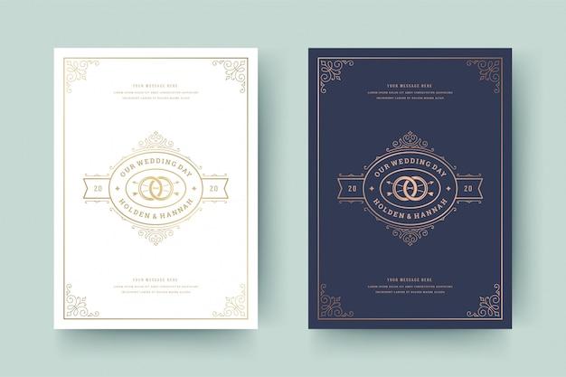 Invitación de boda guardar la plantilla de tarjeta de fecha adornos de oro adornos remolinos viñeta.