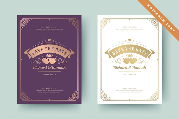 Invitación de boda guardar la plantilla de texto editable de la tarjeta de fecha con remolinos de viñeta de adornos dorados. la boda y el marco victoriano vintage invitan a decoraciones de título. plantilla elegante.