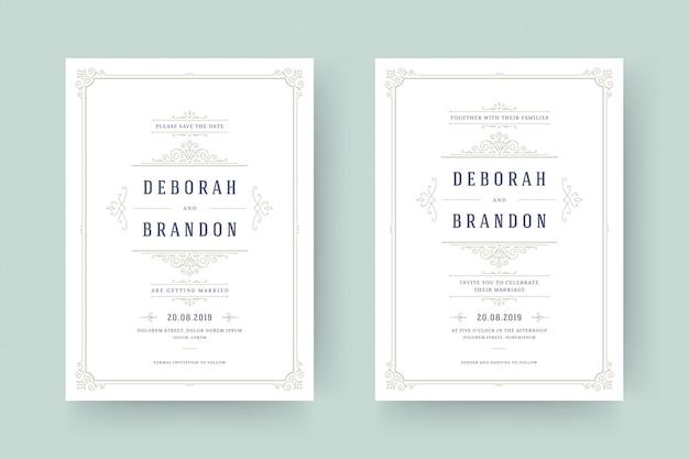 Invitación de boda y guardar las tarjetas de fecha florece adornos.