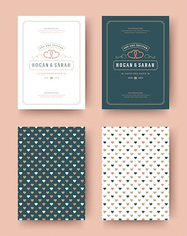 Invitación de boda guardar las tarjetas de fecha vintage diseño tipográfico plantilla