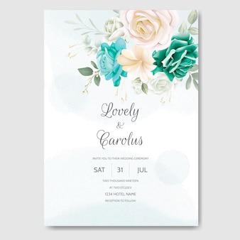 Invitación de boda hermosa acuarela floral y hojas verdes