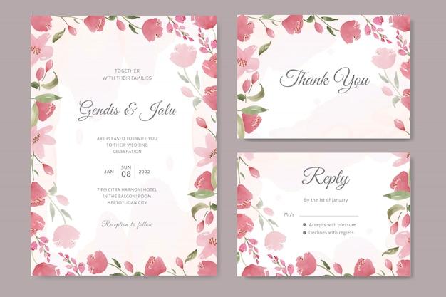 Invitación de boda hermosa con acuarela floral roja