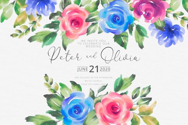 Invitación de boda hermosa acuarela