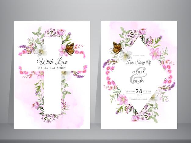 Invitación de boda con hermosa flor acuarela y santa cruz
