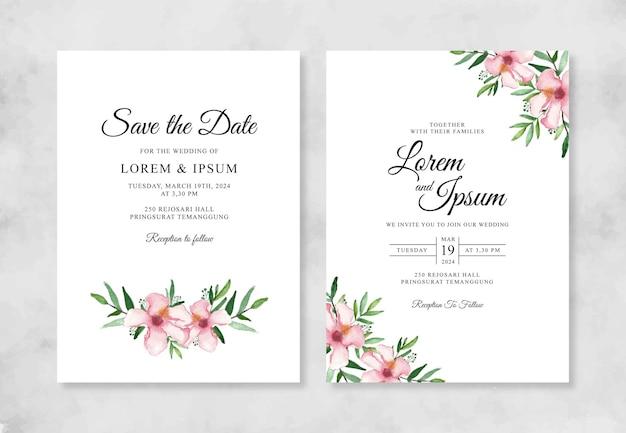 Invitación de boda hermosa con flor de acuarela