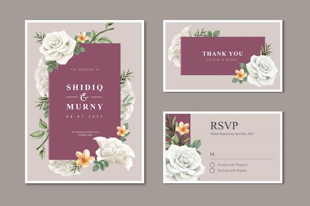 Invitación de boda hermosa con flor rosa blanca
