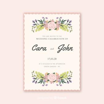Invitación de boda hermosa con flores acuarelas
