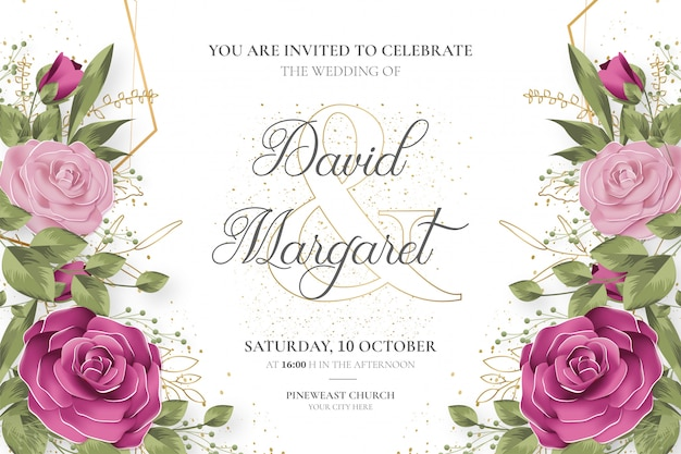 Invitación de boda hermosa con flores lindas