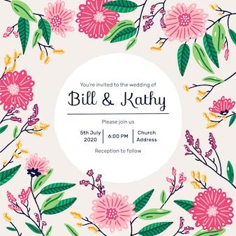 Invitación de boda hermosa con flores