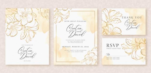 Invitación de boda hermosa fondo acuarela con salpicaduras de oro y flores