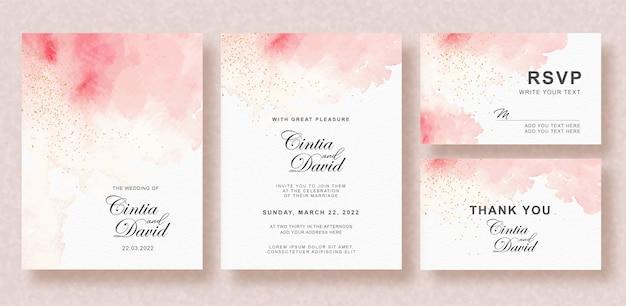Invitación de boda hermosa con fondo acuarela splash