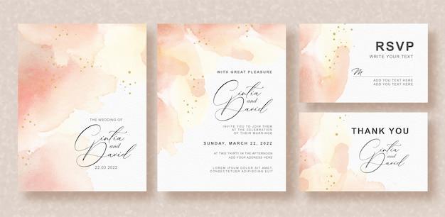 Invitación de boda hermosa con fondo de color melocotón splash
