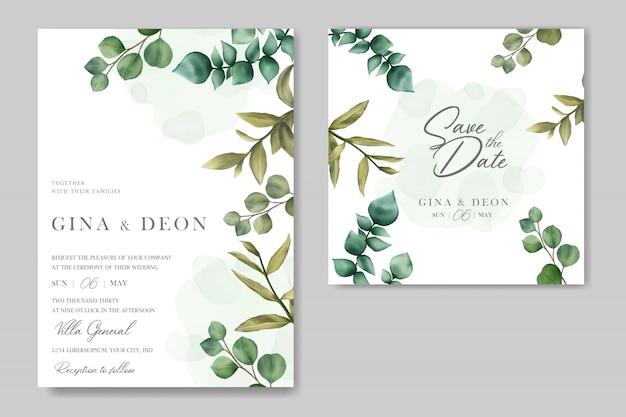 Invitación de boda hermosa con guardar la tarjeta de fecha