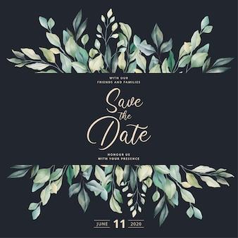 Invitación de boda hermosa con hojas de acuarela