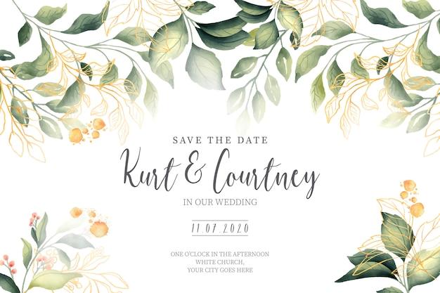Invitación de boda hermosa con hojas verdes y doradas