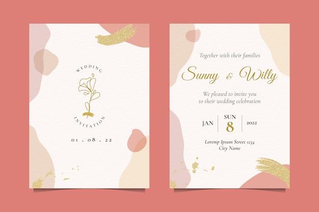 Invitación de boda con hermosa ilustración rosa