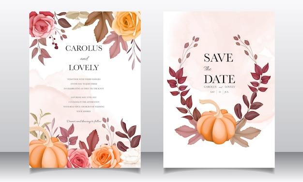 Invitación de boda hermosa mano dibujo conjunto de plantillas de flores y hojas