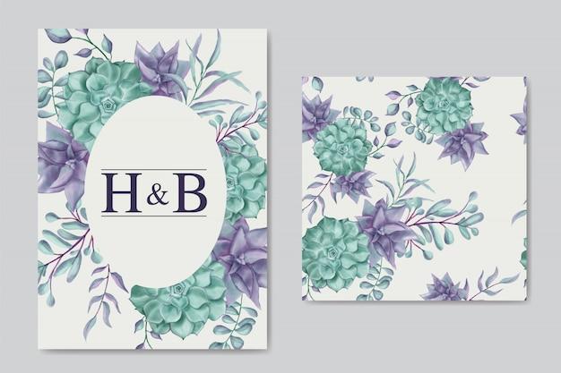 Invitación de boda hermosa con marco floral y patrones sin fisuras