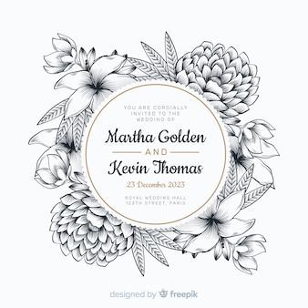 Invitación de boda hermosa con marco floral