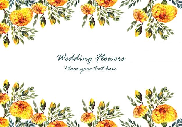 Invitación de boda hermosa marco de flores decorativas